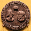 Marriage of James VI of Scotland to Anne of Denmark medal at Hunterian Art Gallery. Glasgow, Scotland.