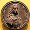 Professor Francis Hutcheson medal by Antonio Selvi of Florence at Hunterian Art Gallery. Glasgow, Scotland.