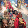 Druids - Bringing in Mistletoe painting by George Henry & Edward Atkinson Hornel of Glasgow Boys at Kelvingrove Art Gallery. Glasgow, Scotland.