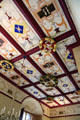 Painted ceiling in King's Bedchamber recreated in Palace of Stirling Castle. Stirling, Scotland