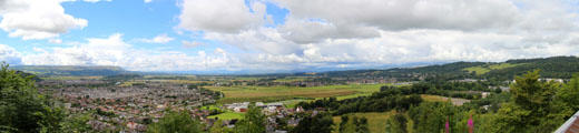 Panorama of Stirling & surrounding mountains seen from Wallace Monument. Stirling, Scotland.