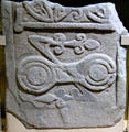 Stone with Pictish double disk & Z-rod symbol at St Vigeans Museum. Arbroath, Scotland