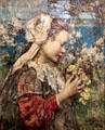 Young Girl with Primroses painting by Edward Atkinson Hornel of Glasgow Boys at Broughton House. Kirkcudbright, Scotland.