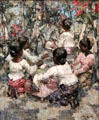 Lace Makers, Ceylon painting by Edward Atkinson Hornel of Glasgow Boys at Broughton House. Kirkcudbright, Scotland.