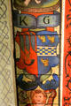 Katherine Burnett's coat of arms on ceiling painting in Muses room at Crathes Castle. Crathes, Scotland.