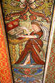 Polyhymnia playing claichord ceiling painting in Muses room at Crathes Castle. Crathes, Scotland.