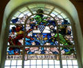 Stained glass windows in Council Chamber at Belfast City Hall. Belfast, Northern Ireland.