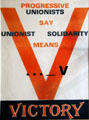 Progressive Unionists say Unionist Solidarity means Victory poster at Linen Hall Library. Belfast, Northern Ireland.