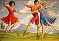 Three Dancers painting by John Luke at Ulster Museum. Belfast, Northern Ireland