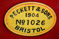 Tyrone steam locomotive maker's plate by Peckett & Sons of Bristol at Giant's Causeway & Bushmills Railway. Northern Ireland.