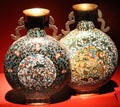 Qing Dynasty cloisonné enamel pilgrim flasks from China at Mobile Museum of Art. Mobile, AL.