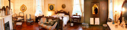 Bedroom panorama at Historic Oakleigh Museum House. Mobile, AL.