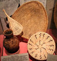 Paiute native baskets for winnowing, seed beating, water bottle & bowls at Arizona State Museum. Tucson, AZ.