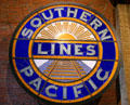 Southern Pacific Sunset Lines emblem in stained glass at California State Railroad Museum. Sacramento, CA.