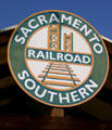 Sacramento Southern Railroad sign on depot in Old Sacramento. Sacramento, CA.