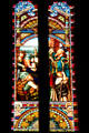 Stained glass window showing St. Patrick in Sacramento Cathedral. Sacramento, CA.