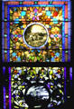Stained glass window in main house of Beringer wines in Napa Valley. St Helena, CA.