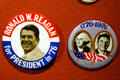 Ronald W. Reagan for President 1976 campaign buttons at Reagan Museum. Simi Valley, CA.