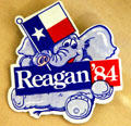 Reagan 1984 presidential elephant with Texas flag campaign button at Reagan Museum. Simi Valley, CA.