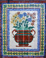 George White & Anna Gunn Marston residence arts & crafts tile mural detail showing flowers in vase. San Diego, CA.