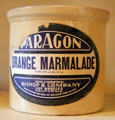 Stoneware orange marmalade crock from Los Angeles at Marston House Museum. San Diego, CA.