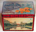 Tea tin with scenes of California including San Francisco World Exposition at Marston House Museum. San Diego, CA.
