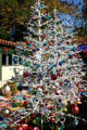 White Christmas trees in Balboa Park Spanish Village. San Diego, CA.