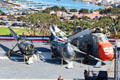 Carrier Helicopters: HOS3, HUP Retriever & H-34 Seabat Helicopters aboard Midway carrier museum. San Diego, CA.