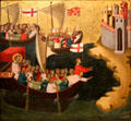 Arrival of St. Ursula at Cologne tempera painting by Bernardo Daddi at J. Paul Getty Museum Center. Malibu, CA.