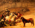 Bullfight, Suerte de Varas painting by Francisco de Goya at J. Paul Getty Museum Center. Malibu, CA.