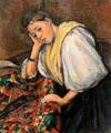 Young Italian Woman at a Table by Paul Cézanne at J. Paul Getty Museum Center. Malibu, CA.