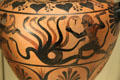 Etruscan terracotta black-figure water jar with Herakles & Hydra from Central Italy at Getty Museum Villa. Malibu, CA.