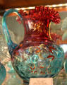 Red & glue glass pitcher at Historical Glass Museum. Redlands, CA