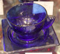 Terrace pattern cobalt blue cup & saucer by Duncan & Miller at Historical Glass Museum. Redlands, CA.