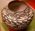 Acoma Pueblo native olla ceramic bowl at San Bernardino County Museum. Redlands, CA.