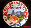 National Orange Co. of Riverside, CA label at Riverside Museum. Riverside, CA.