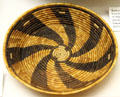Cahuilla basket tray with whirlwind pattern at Riverside Museum. Riverside, CA.