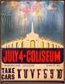 Poster for July 4th fireworks at LA Coliseum at Orange Empire Railway Museum. Perris, CA.