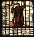 Padre Junipero Serra founder of the California mission system in stained glass at Mission Dolores. San Francisco, CA.