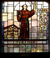 Padre Francisco Palou founder of Mission San Francisco de Asis in stained glass at Mission Dolores. San Francisco, CA.