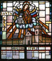 Santa Cruz mission in stained glass at Mission Dolores. San Francisco, CA.