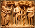 Alabaster relief carving of the Lord Reprimanding Adam & Eve by Bartolomeu Rubio of Catalonia, Spain at Legion of Honor Museum. San Francisco, CA.