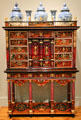 Inlaid cabinet on stand c1665 by Pierre Gole of Paris, France supporting five Japanese vases at Legion of Honor Museum. San Francisco, CA.