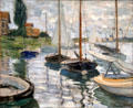 Sailboats on Seine at Petit-Gennevilliers painting by Claude Monet at Legion of Honor Museum. San Francisco, CA.