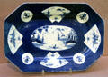 Porcelain rectangular dish in blue with oriental decoration from Bow, England at Legion of Honor Museum. San Francisco, CA.