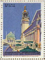 Court of Palms poster stamp from Panama-Pacific International Exposition. San Francisco, CA.