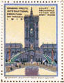 Court of Abundance Tower & Great Cascade poster stamp from Panama-Pacific International Exposition. San Francisco, CA.