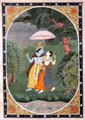Hindu deity Krishna & his beloved sheltered from rain by umbrella watercolor from Punjab, India at Asian Art Museum. San Francisco, CA.