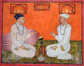 Priests Hari Nath & Hari Krishan in conversation watercolor from Rajasthan, India at Asian Art Museum. San Francisco, CA.