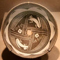 Mimbres native pottery bowl with rabbits from southern New Mexico at de Young Museum. San Francisco, CA.